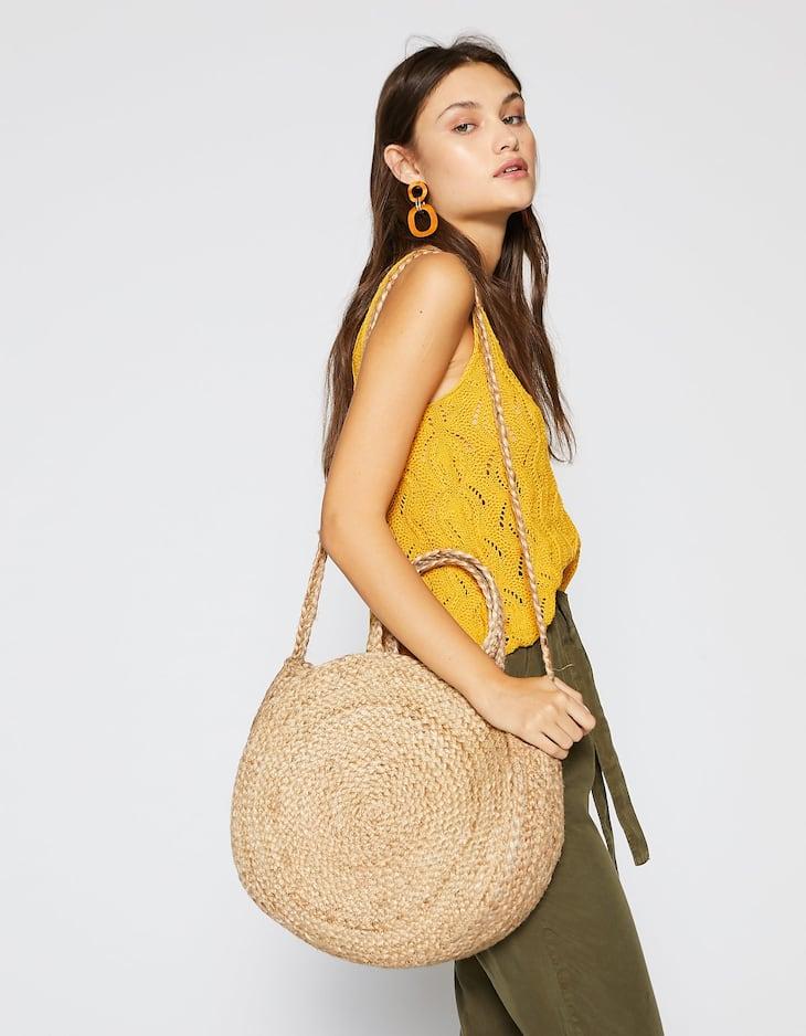 Raffia round crossbody bag