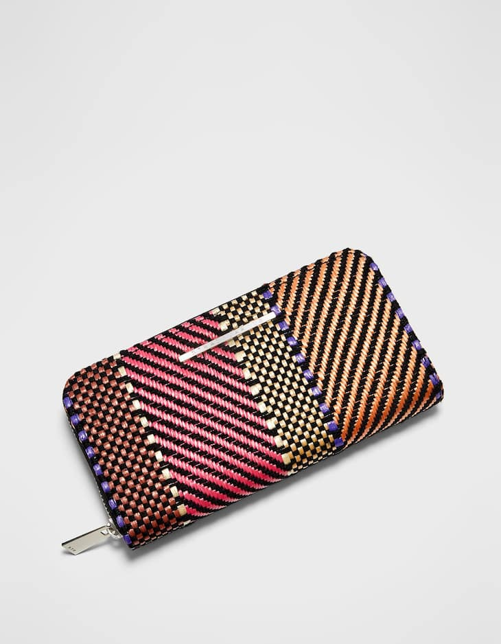 Jacquard zipped purse