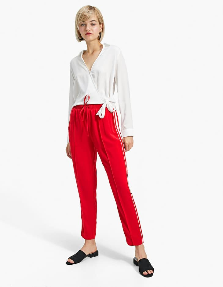 Harem trousers with side stripes