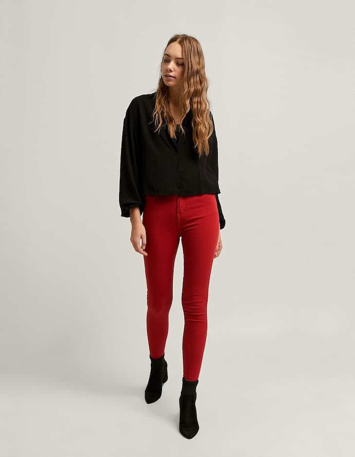 Coloured super high waist trousers