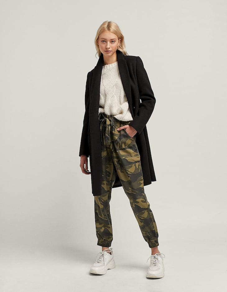 Flowing camouflage baggy trousers