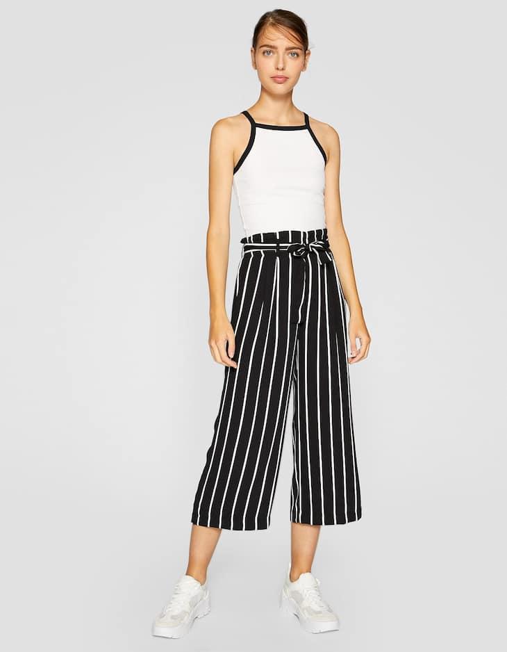 Tie Front Stripe Trouser