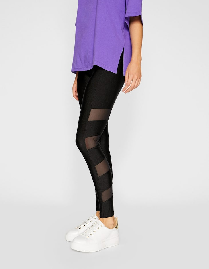 Leggings with sheer trims