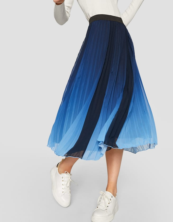 Pleated ombré print skirt