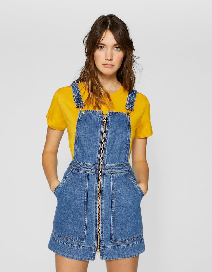 Zip-up denim pinafore dress