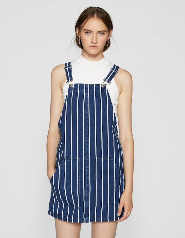 Striped denim pinafore dress