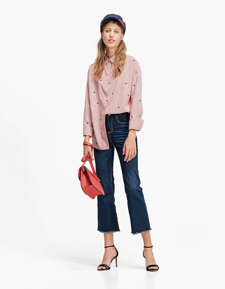 Cropped flared trousers