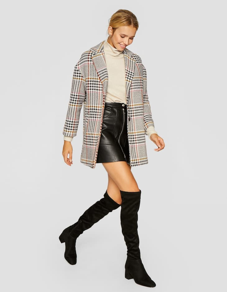 Checked drop sleeve coat