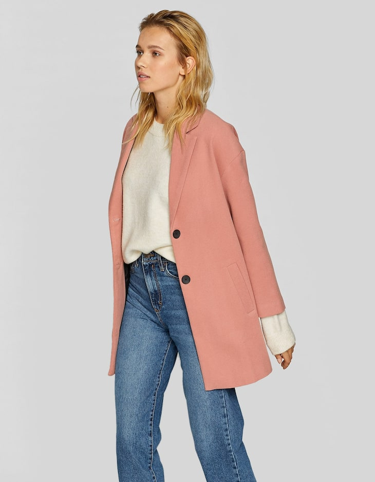 Plain drop sleeve coat