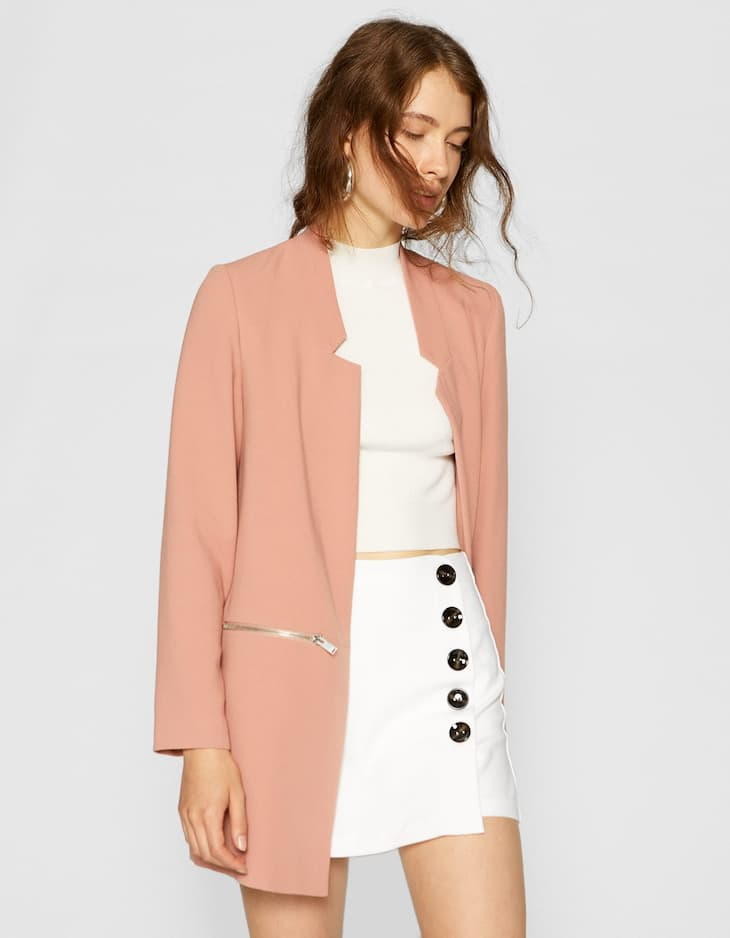 Inverted lapel coat