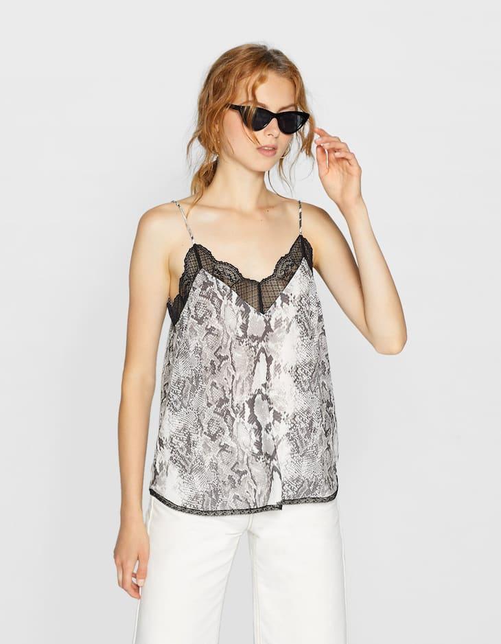 Desenli dantel şeritli askılı bluz