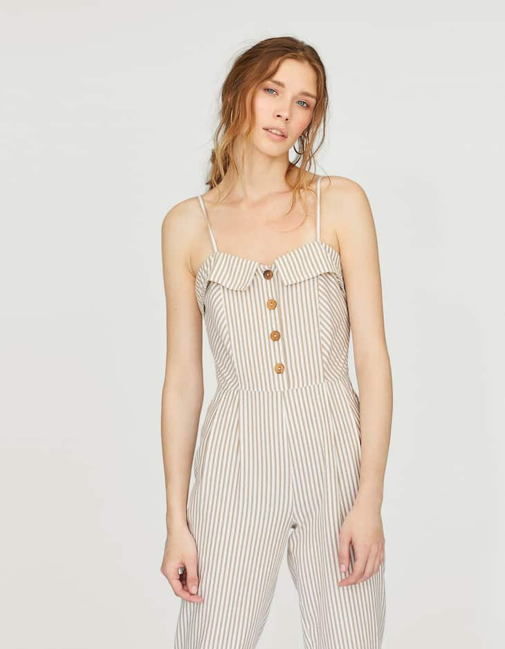 Striped button-up tank jumpsuit