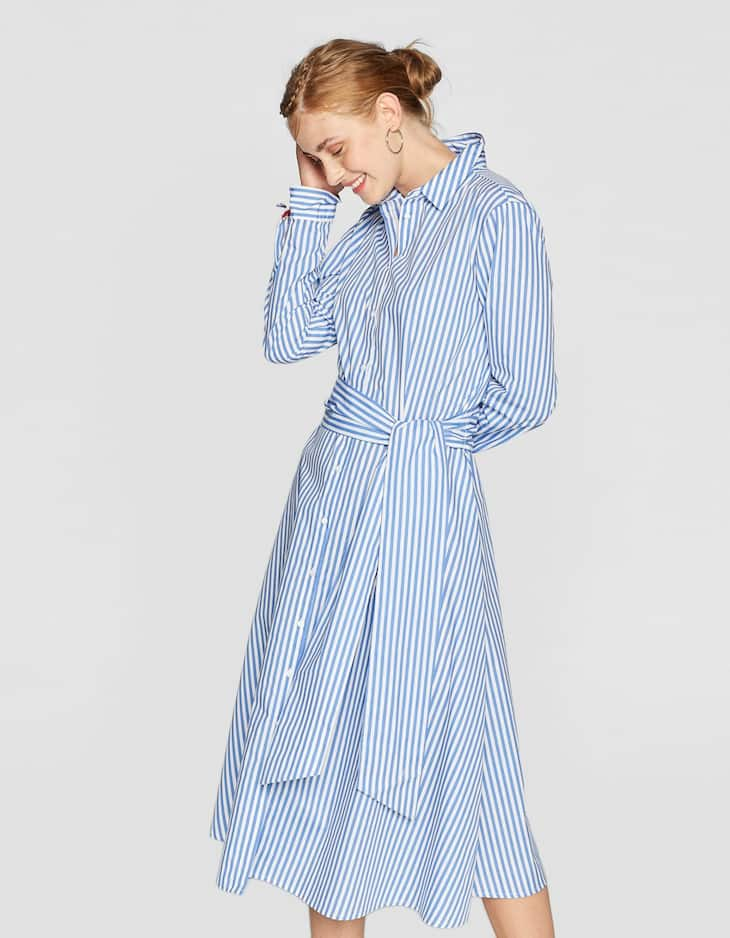 Long striped shirt dress
