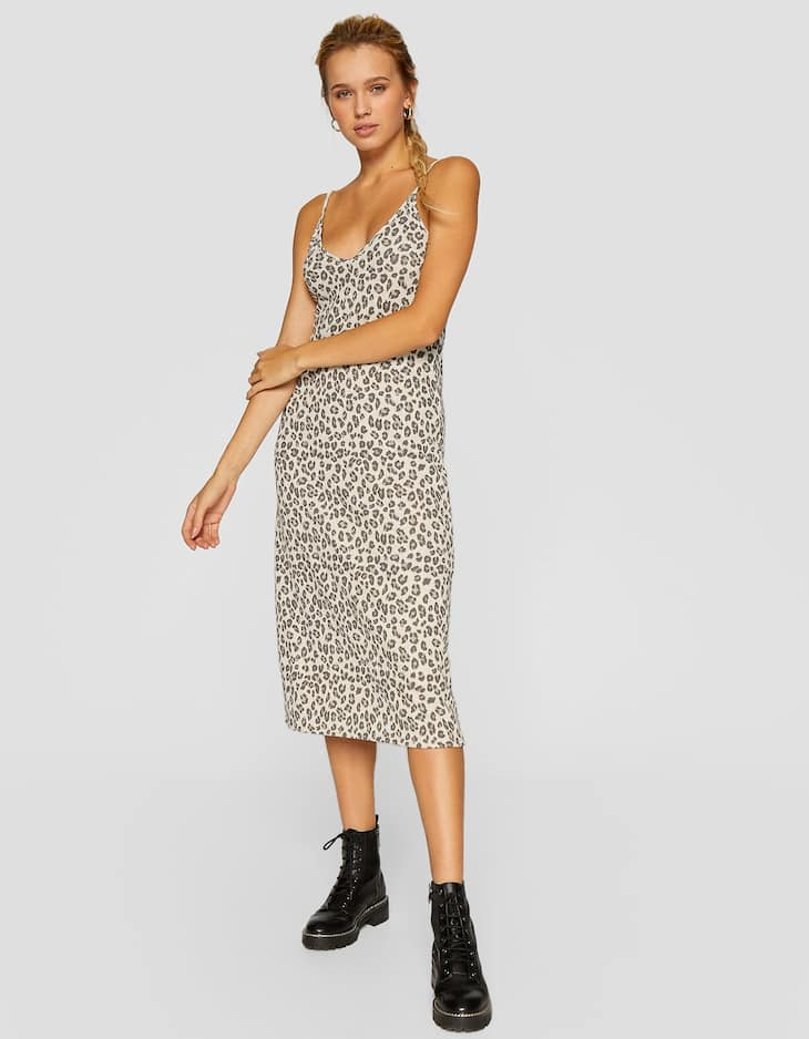 Leopard print knit camisole dress