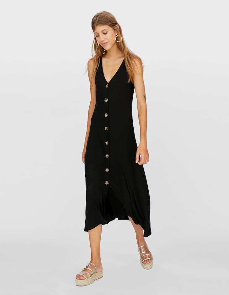 Button-up V-neck dress