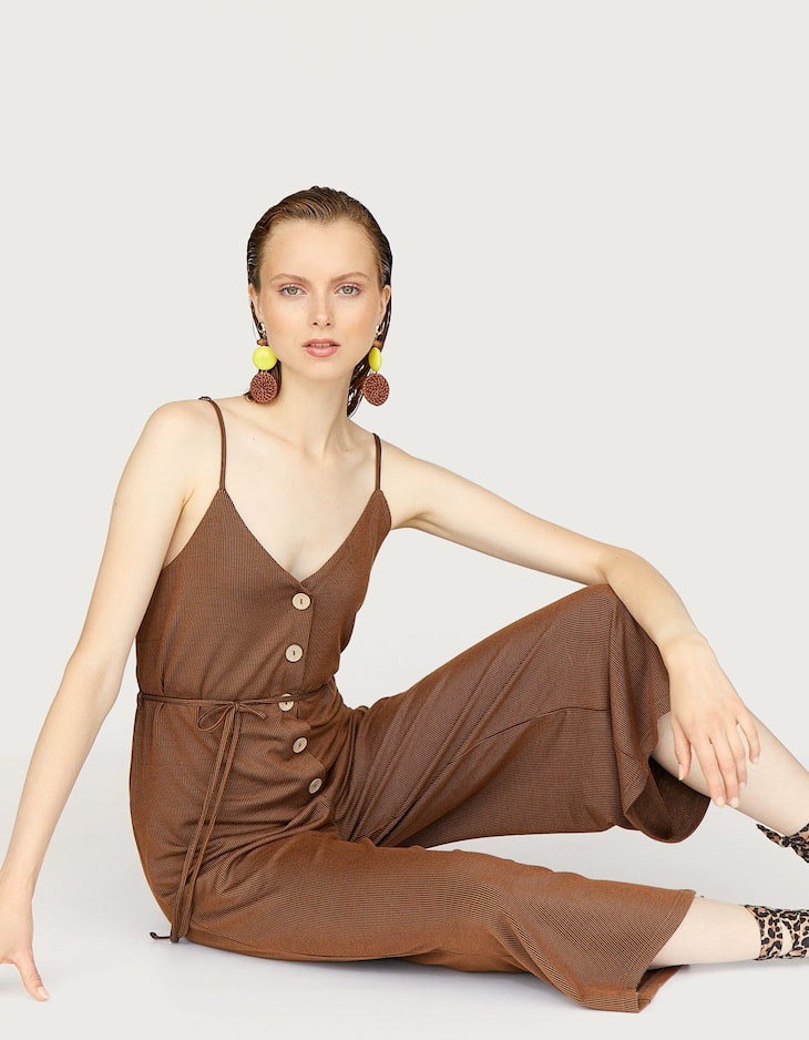 Strappy long jumpsuit with button-up front