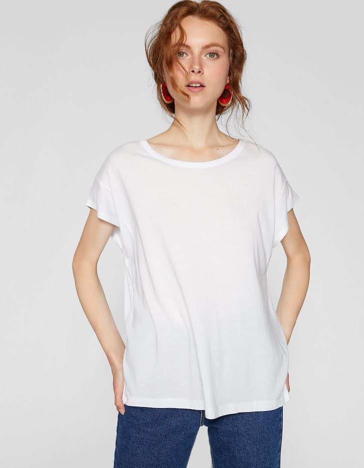 Basic drop sleeve T-shirt