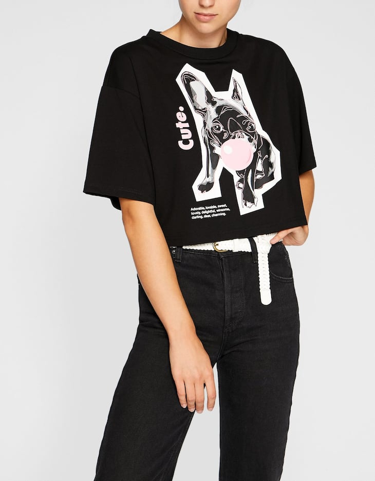 Oversized cropped T-shirt