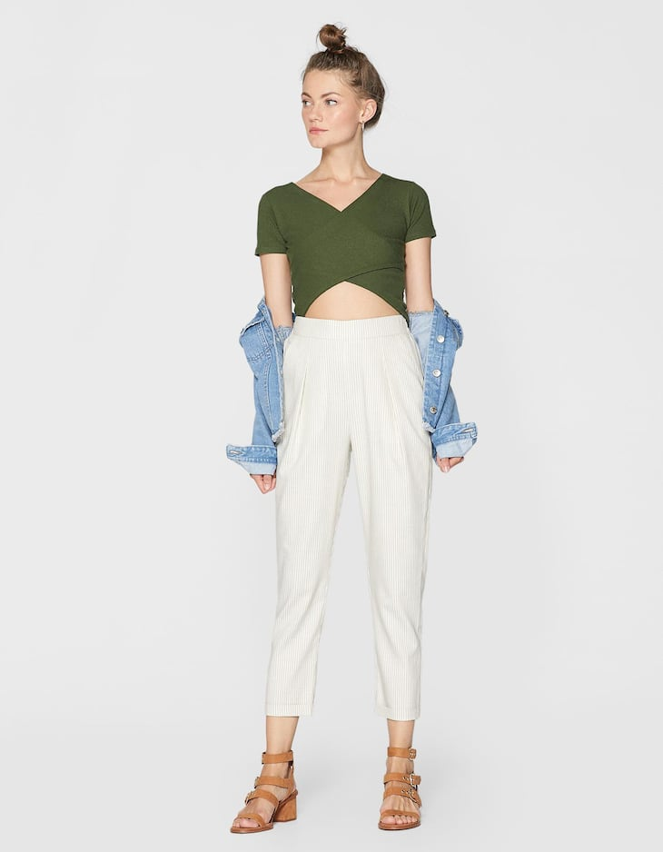 Ribbed crossover crop top