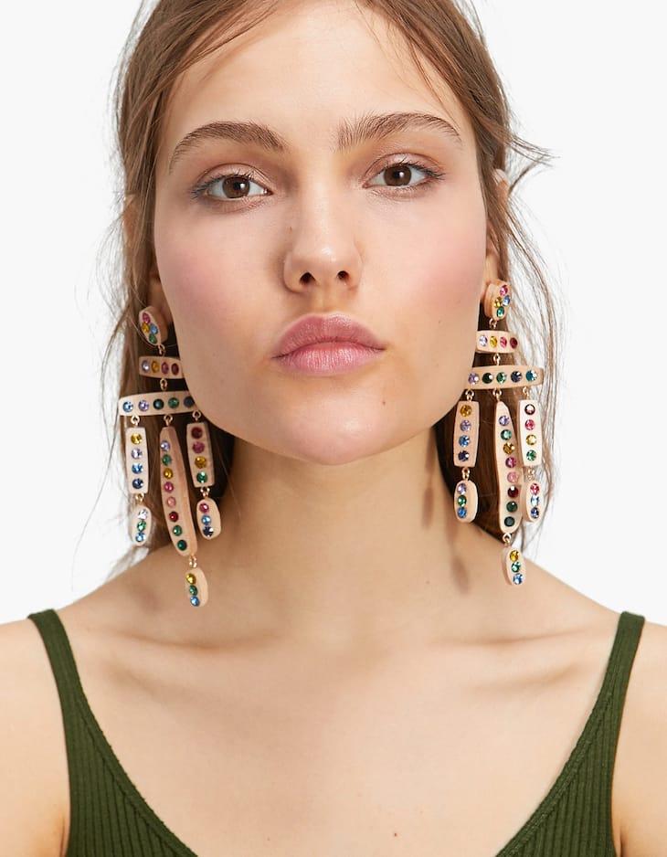 Houten oorbellen met steentjes