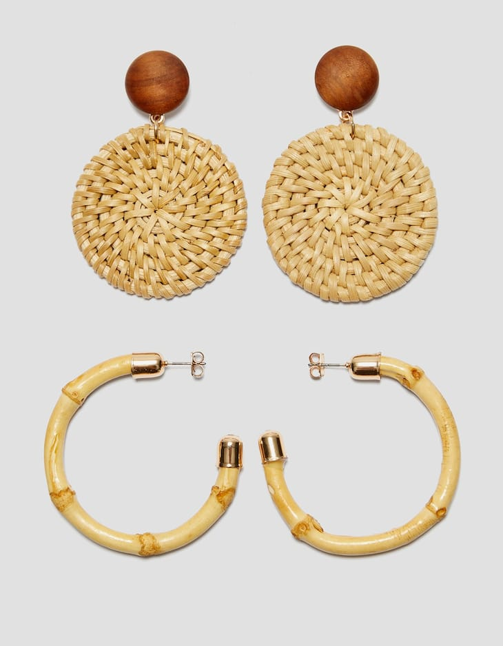 Set of raffia and bamboo earrings
