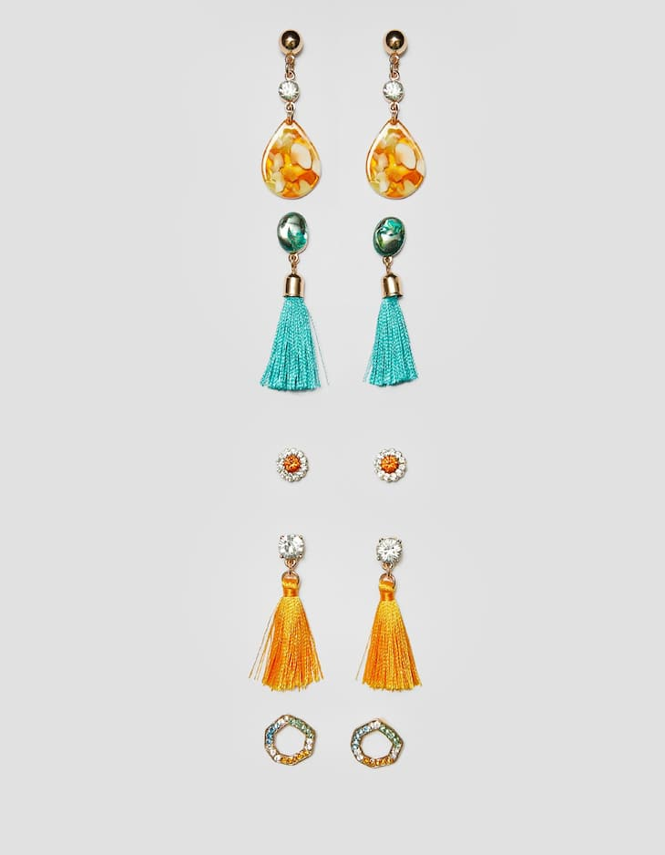 Set of 5 tassel and sparkle earrings