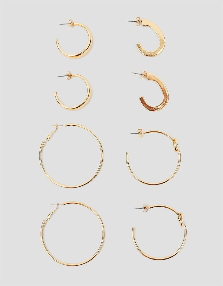 Set of knot hoop earrings