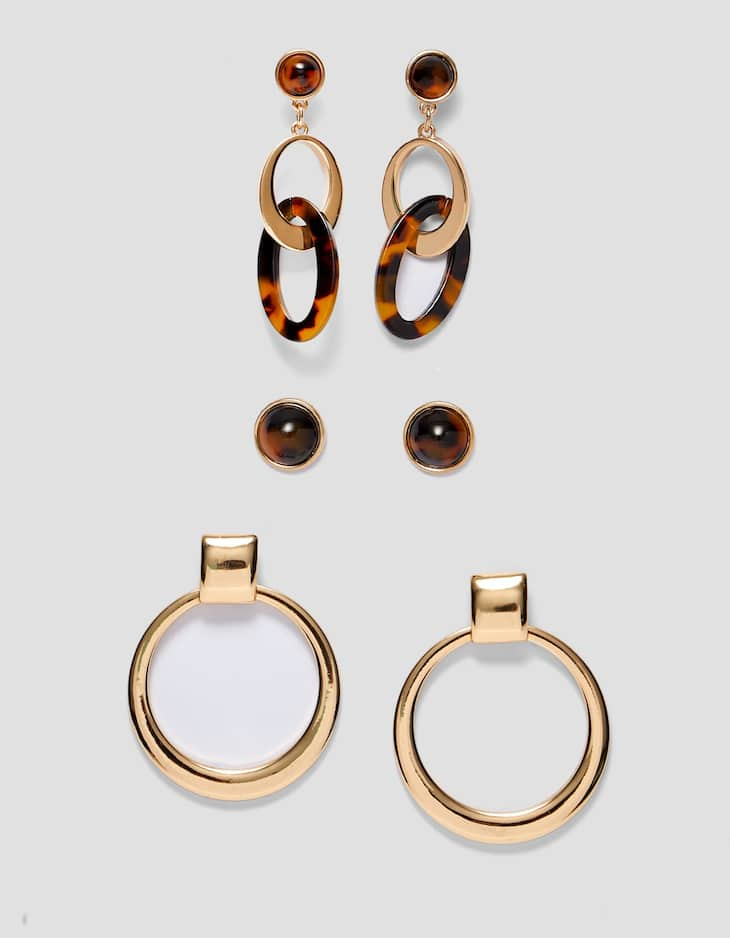 Set of 3 pairs of hoop and tortoiseshell earrings