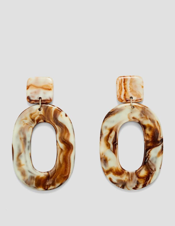 Marble-effect resin earrings