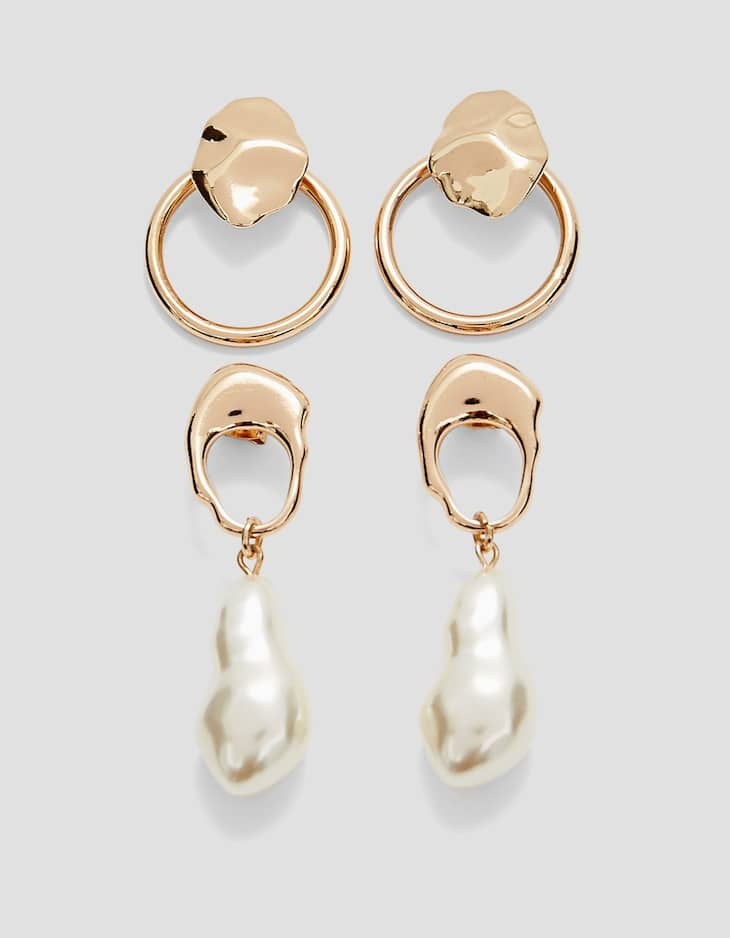 Set of 2 pairs of pearl bead and metal earrings