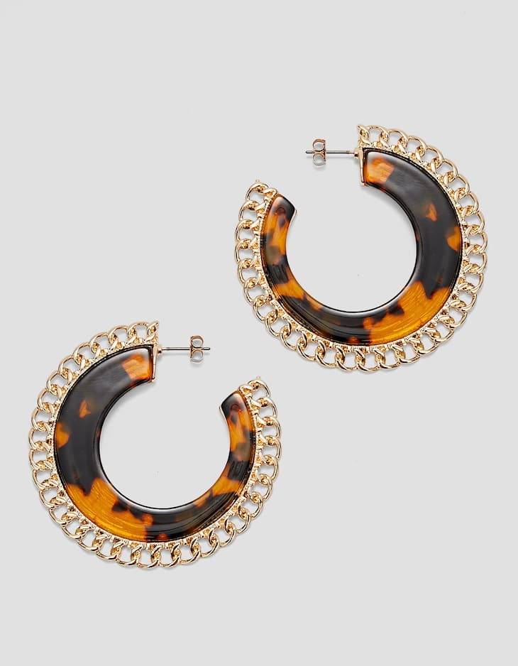 Tortoiseshell and chain hoop earrings