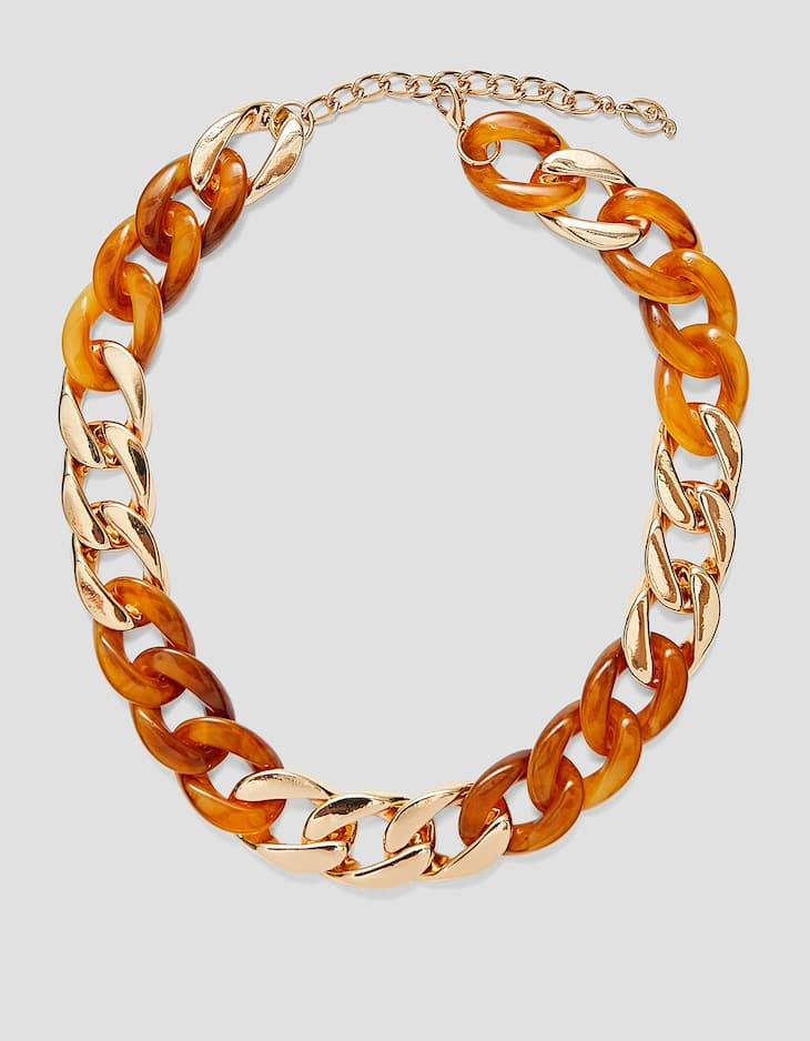 Metal and tortoiseshell chain necklace
