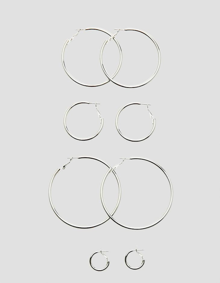 Set of 4 solid hoop earrings