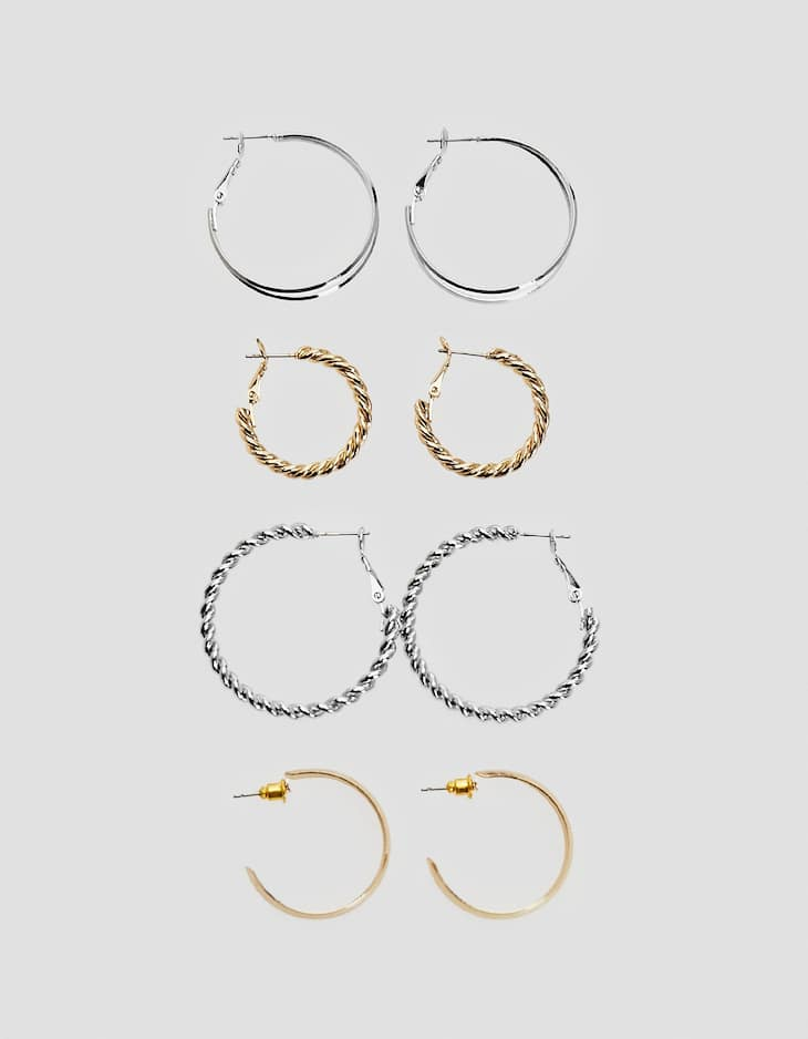 Set of 4 small textured hoop earrings