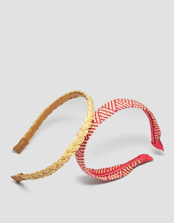 Set of 2 raffia headbands