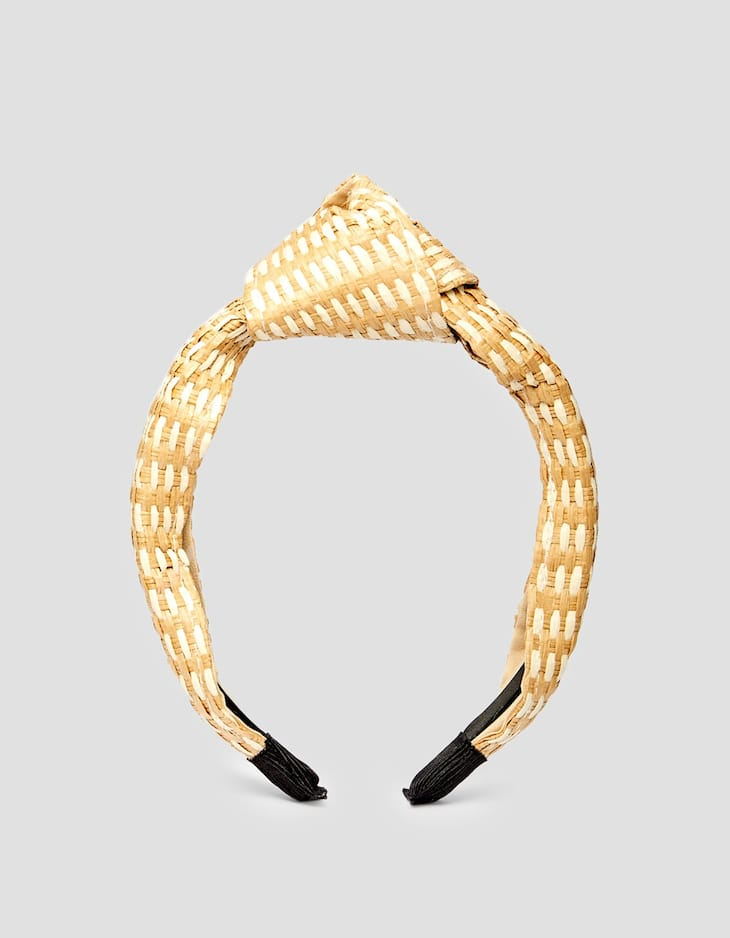 Rigid raffia headband