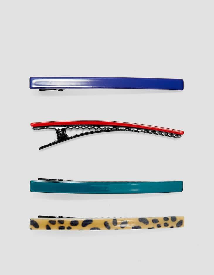 Set met 4 haarspelden met animal print