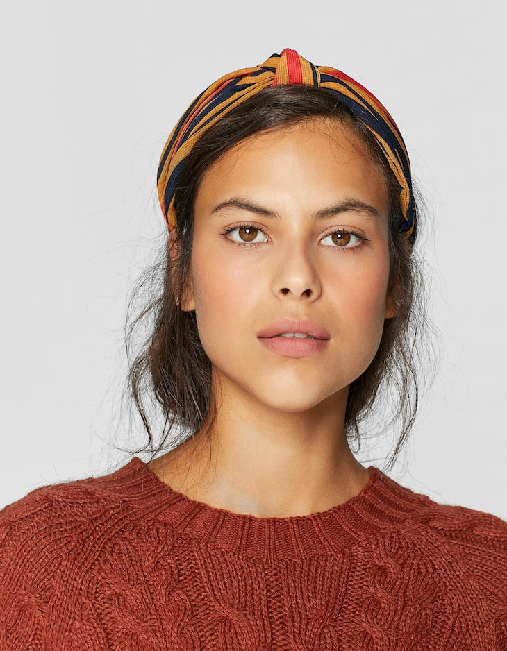 Rigid earth tone stripe headband