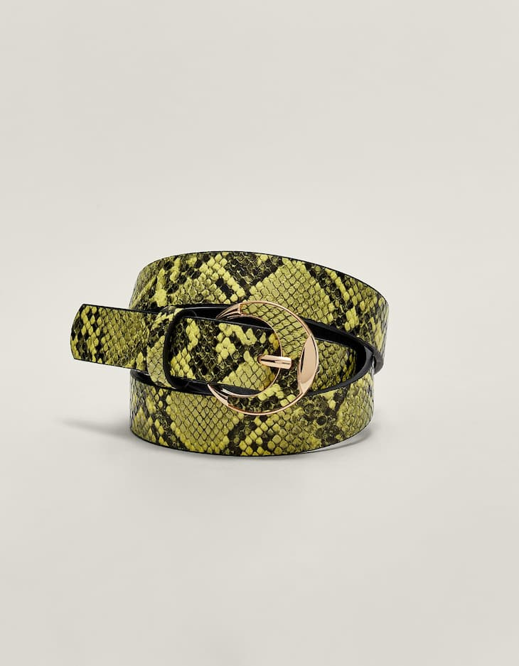 Faux snakeskin belt with buckle