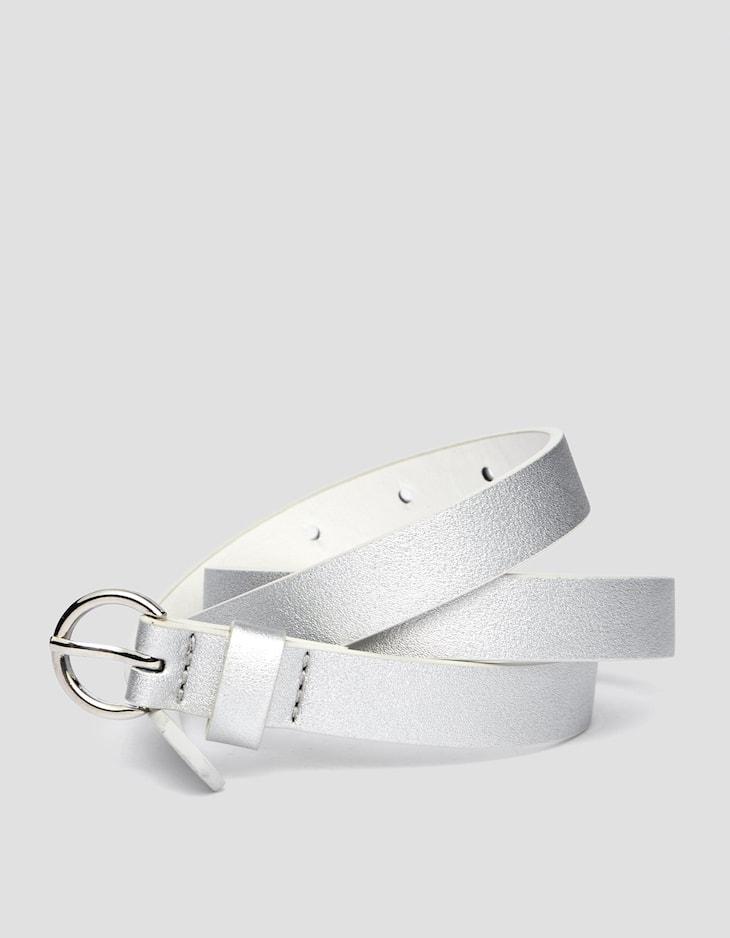 Cinturón fino hebilla redonda