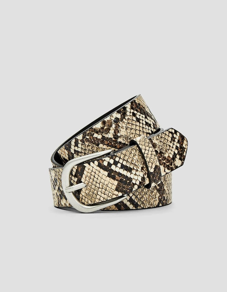 Basic faux snakeskin belt