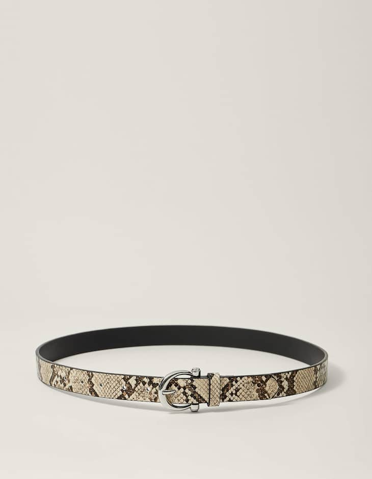 Faux snakeskin belt with horseshoe buckle