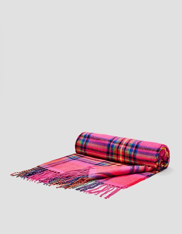 Schal mit neonfarbenen Karos