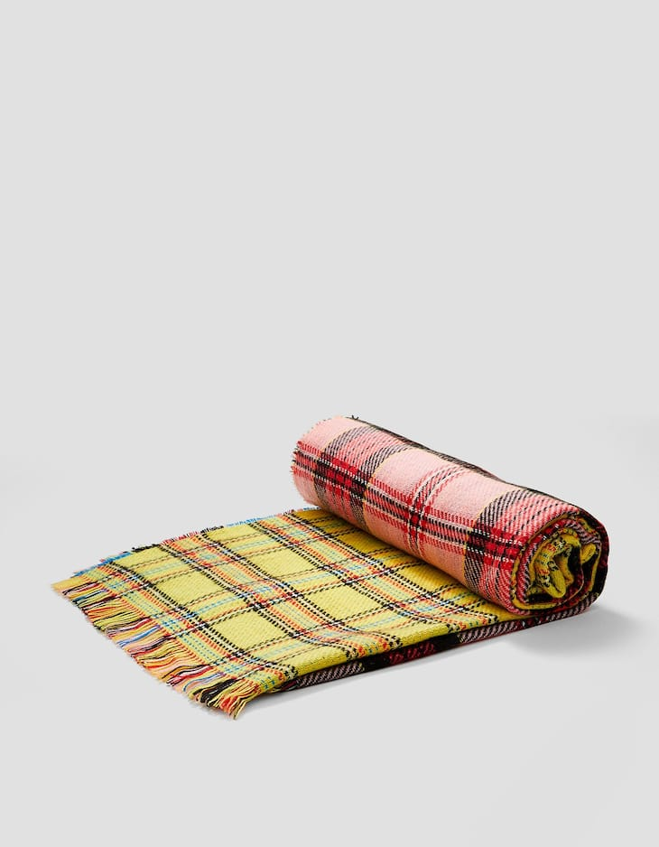 Colour block madras check scarf