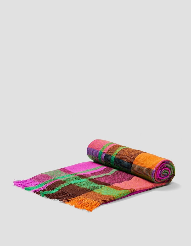 Multicoloured madras check scarf
