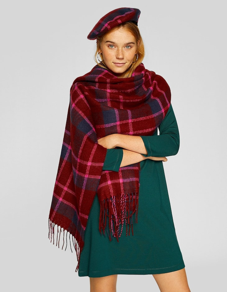Burgundy checked scarf