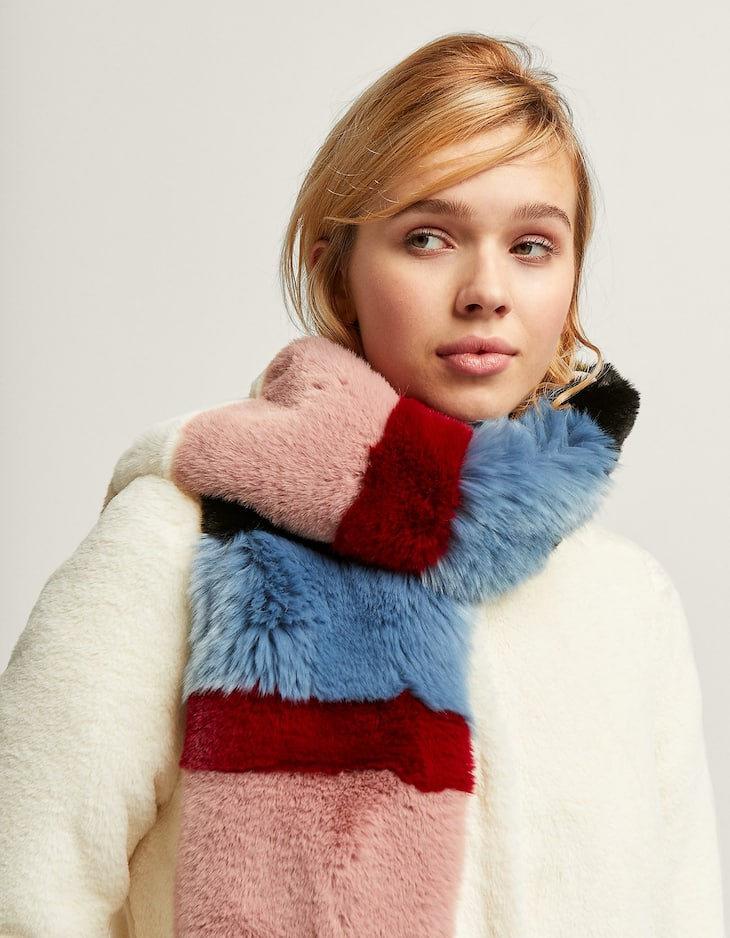 Multicoloured faux fur scarf