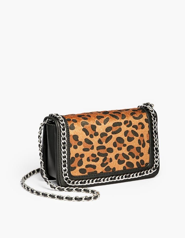 Leopard print crossbody bag with chain trim