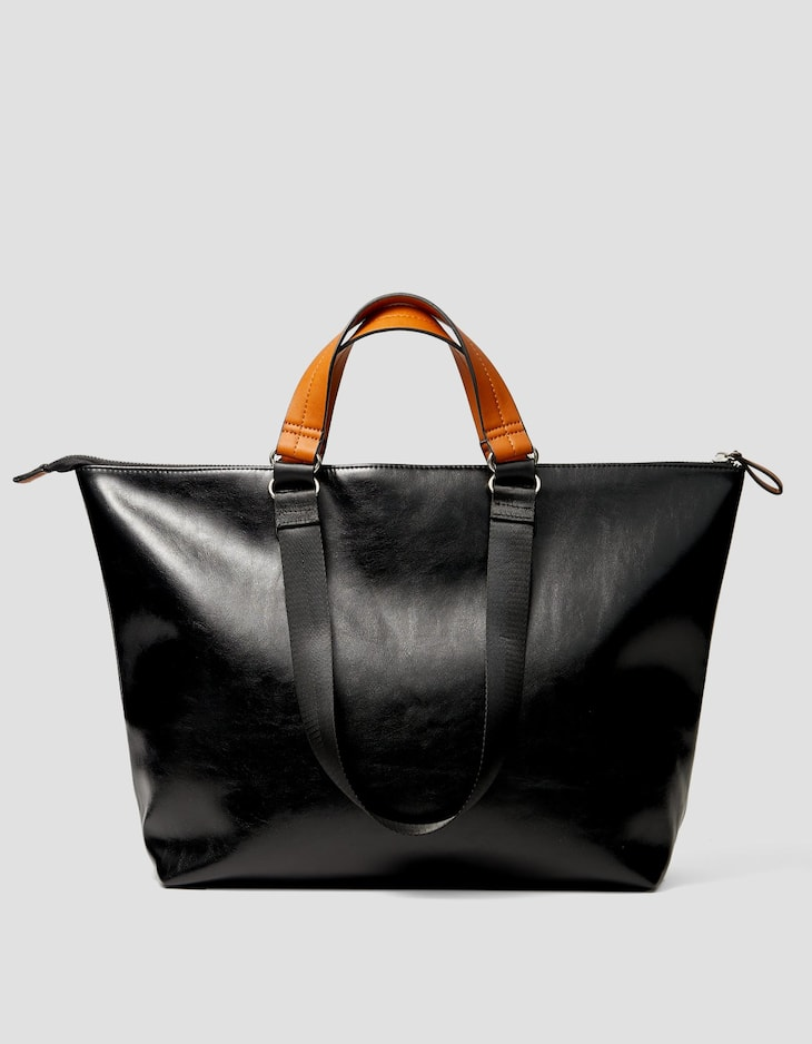Tote bag with contrasting handle