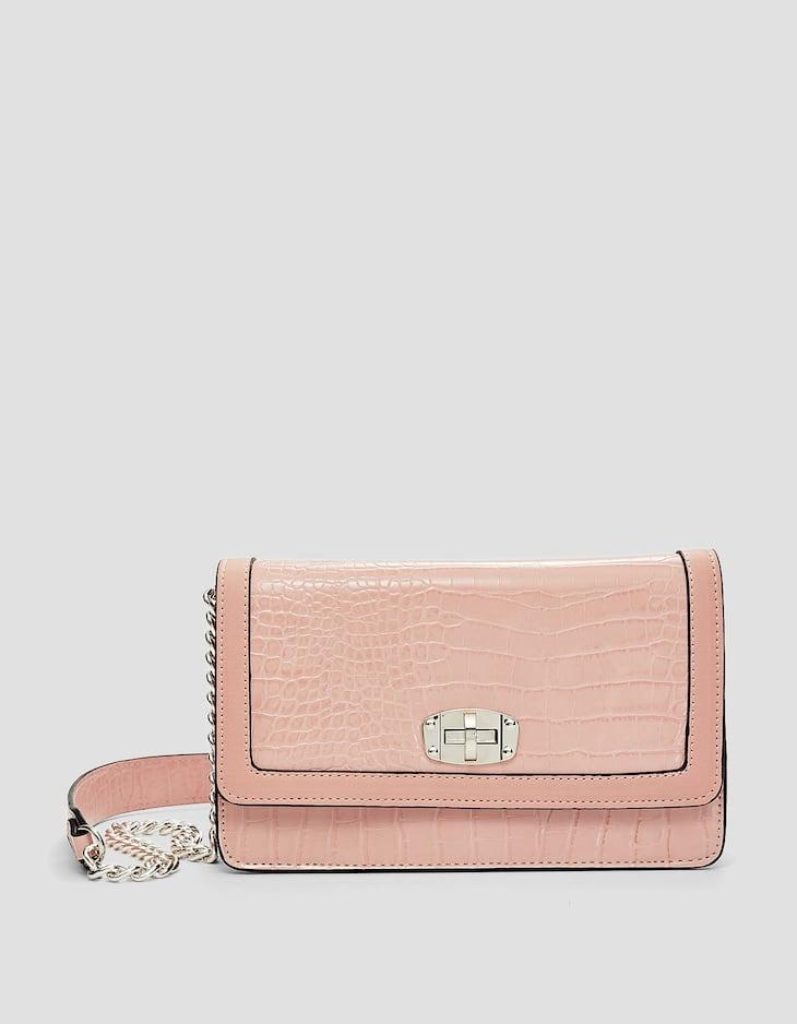 Timsah derisi görünümlü çapraz askılı çanta